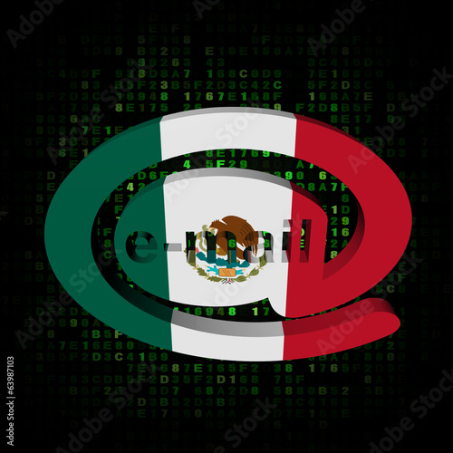 e-mail address symbol with Mexico flag on hex illustration