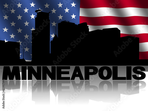 Minneapolis skyline text reflected American flag illustration