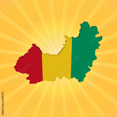 Guinea map flag on sunburst illustration