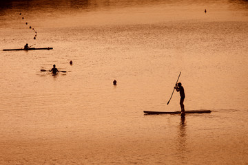 Silhouette of man paddleboarding at sunset, Florence river, Ital