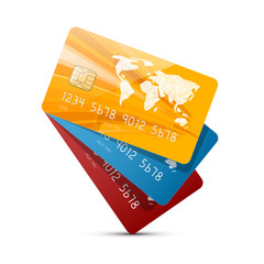 Colorful Vector Credit Cards Set Illustration