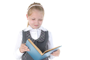 8 year old school girl read book on white background