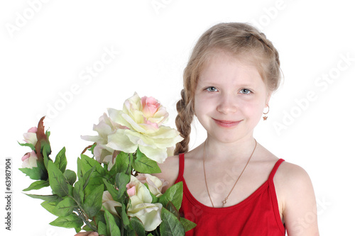 adorable little girl 8 year old  with flowers on  white backgrou