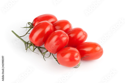 Plum tomatoes on white background