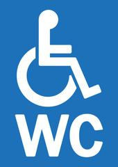 WC-Schild mit Rollstuhl, blau