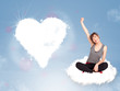 Beautiful lovely woman sitting on cloud with heart