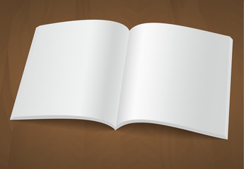 Open blank brochure or magazine on a wooden background