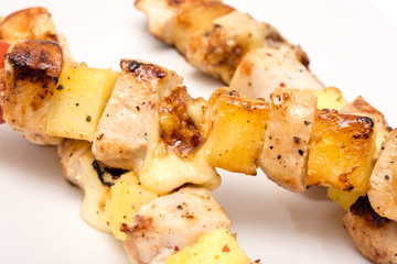 Hawaiian Skewers On Plate Close Up