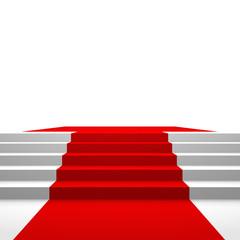 Podest mit rotem Teppich