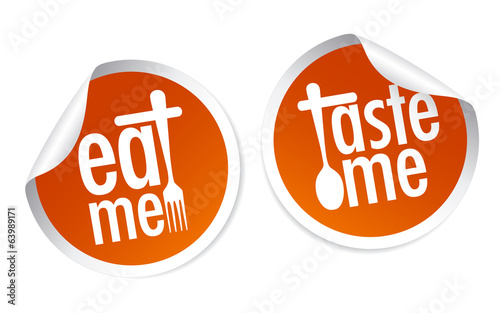 Taste me and Eat me stickers