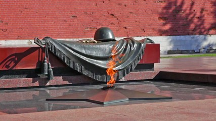 Tomb of the Unknown Soldier with burning flame in Alexander Ga