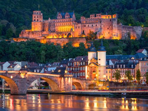 Foto op Canvas Kasteel Heidelberg bei Nacht