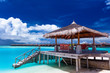 Boat jetty with steps on a tropical island of Maldives