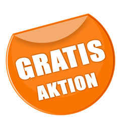 Button Gratis Aktion in orange - g865