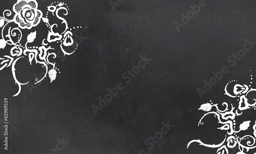Empty Blackboard with Vintage Floral Pattern