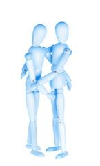 Two blue wooden little men, homosexual couple