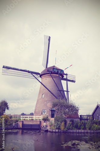 Ancient windmill in Kinderdijk, Holland