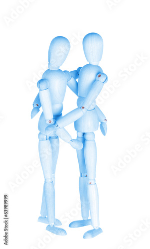 Two blue wooden little men, homosexual couple