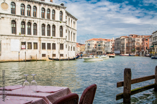 Venice Canal Beyond Pink Table Cloth