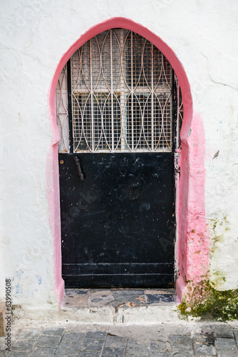 Old closed metal door in Medina, Tangier, Morocco