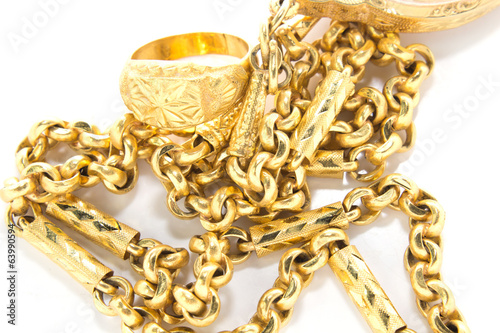golden chains isolated over white