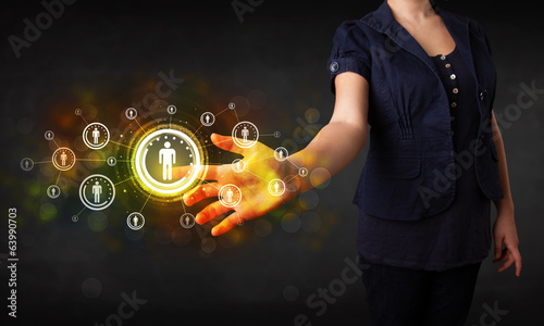 Modern businesswoman touching future technology social network b