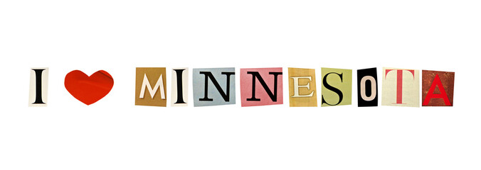 I Love Minnesota formed with magazine letters