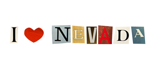 I Love Nevada formed with magazine letters