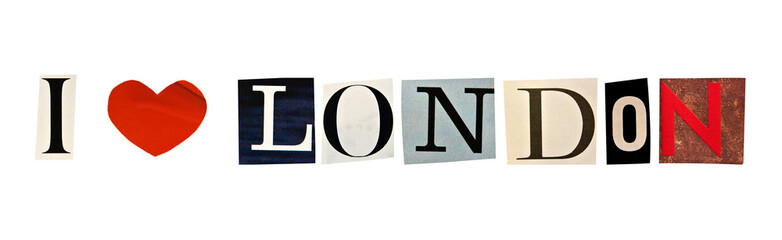 I Love London formed with magazine letters on a white background