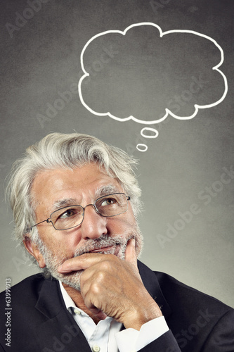 Portrait of a senior man thinking