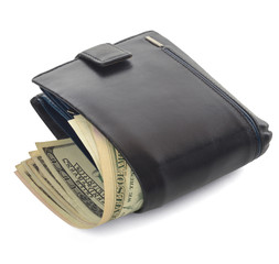Closed men's wallet  with dollars
