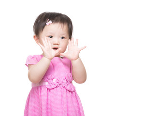 Asia little girl showing hand
