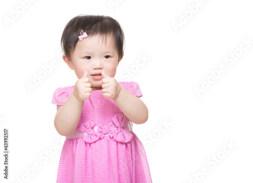 Asia little girl with two finger touch together