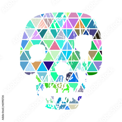 Color geometric skull on white background.