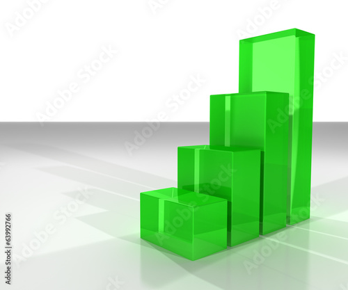 3D columns showing the growth or increase