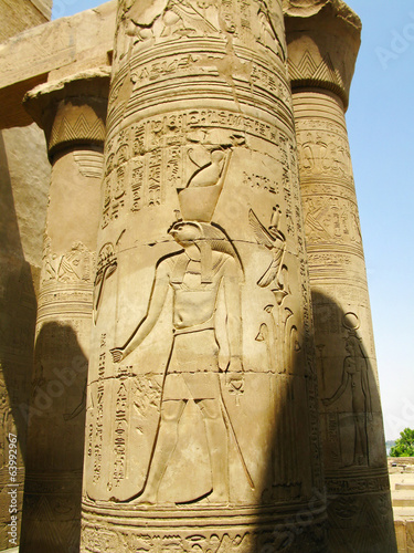 Temple of Kom Ombo, Egypt: column with relief of Horus, the anci