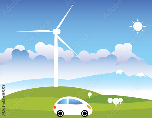Wind turbine and mountain
