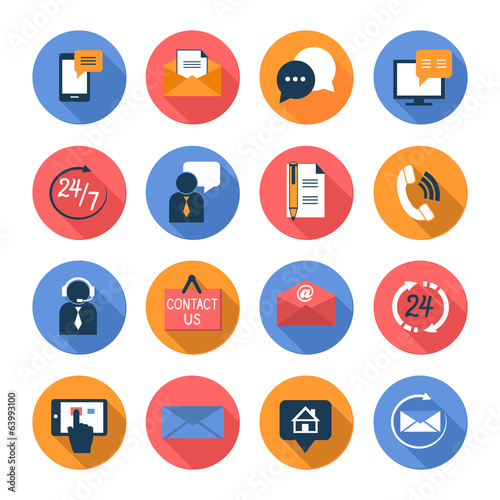 Customer care contacts flat icons set - 63993100