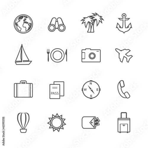 Vacation leisure pictograms set