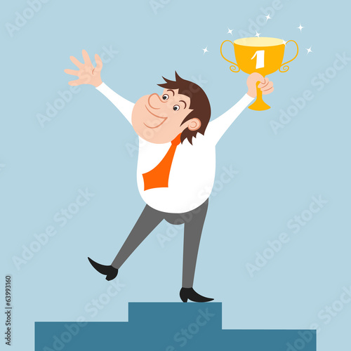 Businessman character won trophy
