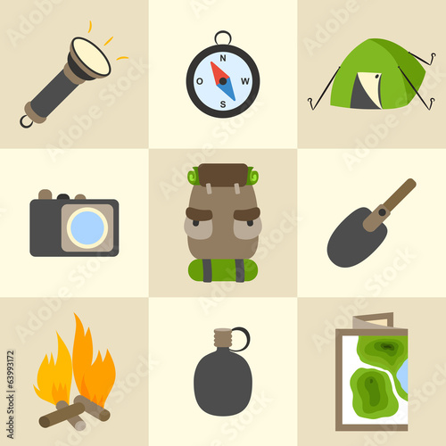 Outdoors tourism camping icons set