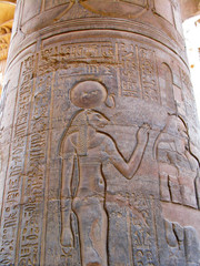 Temple of Kom Ombo, Egypt: relief of Sekhmet, the ancient lion-h