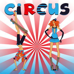 Two thin circus girls