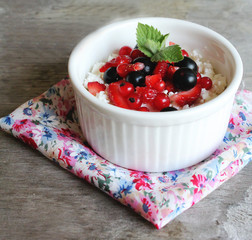 Healthy homemade curd cheese with natural yogurt