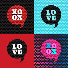 Set of 4 valentines day illustrations and typography elements. B
