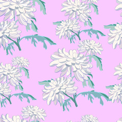 seamless pattern with hrizantemy