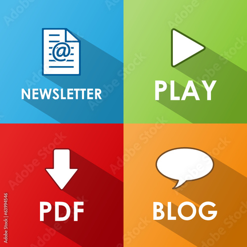 ICONS POSTER (NEWSLETTER PLAY BLOG DOWNLOAD PDF WEB BUTTONS SET)