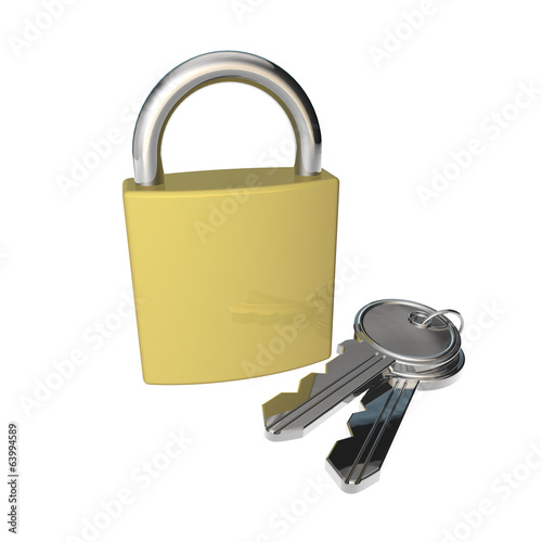 gold padlock and keys on white background