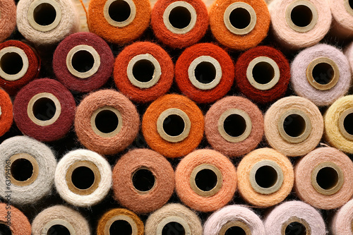 Colorful Collection of Vintage Spools of Craft Yarn