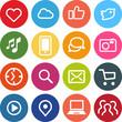 Flat Design Icons Internet+Social Media